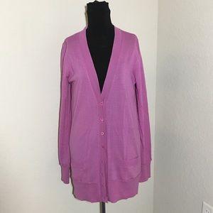 J. Crew Merino Wool Forever Cardigan Tunic Purple